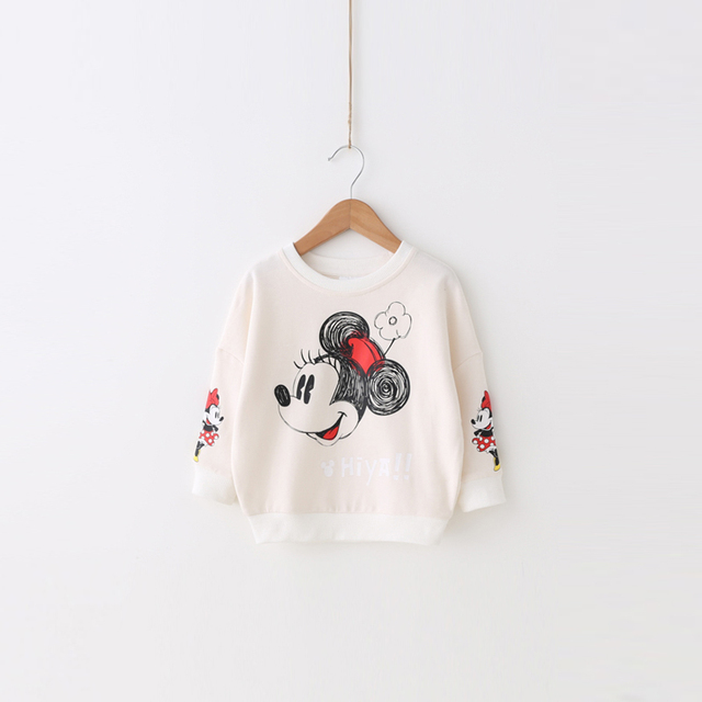 Girls wear 2017 new spring coat red printing cotton baby sweater cute Mickey Pullover