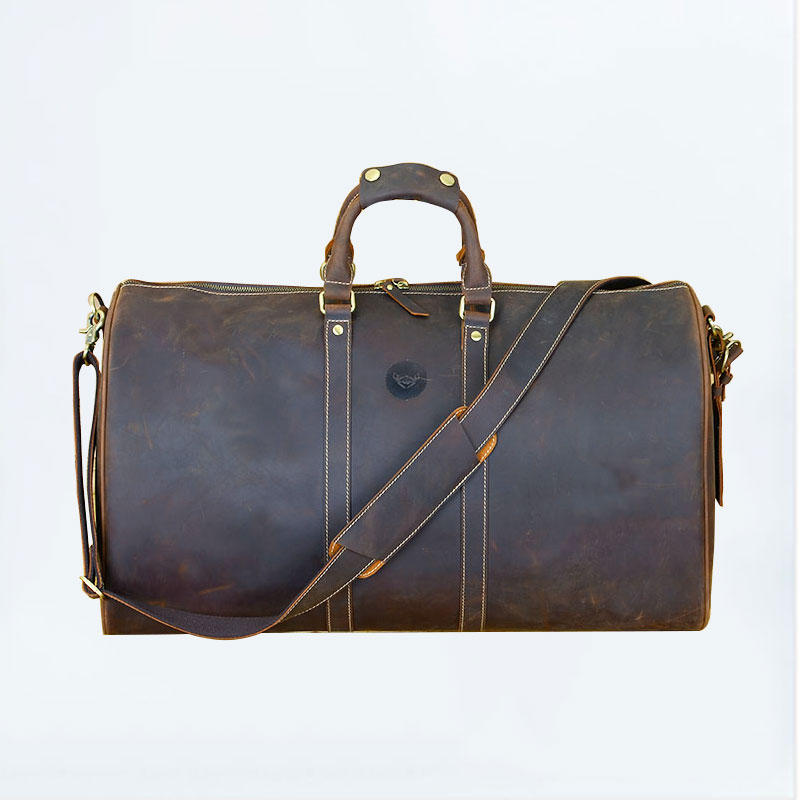 Crazy horse leather large capacity portable travel bag male commercial genuine leather one shoulder travel bag luggage #1473