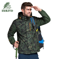 Outdoor Winter Two Piece Fleece Jackets Men Women Waterproof Breathable Fashion Camouflage Ski Camping Warm Windbreaker
