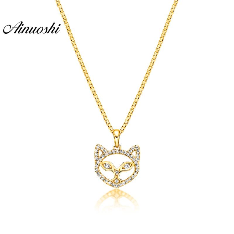 AINUOSHI 10K Solid Yellow Gold Pendant Hollow Little Fox Pendant SONA Diamond Women Men Jewelry Little Animal Separate Pendant