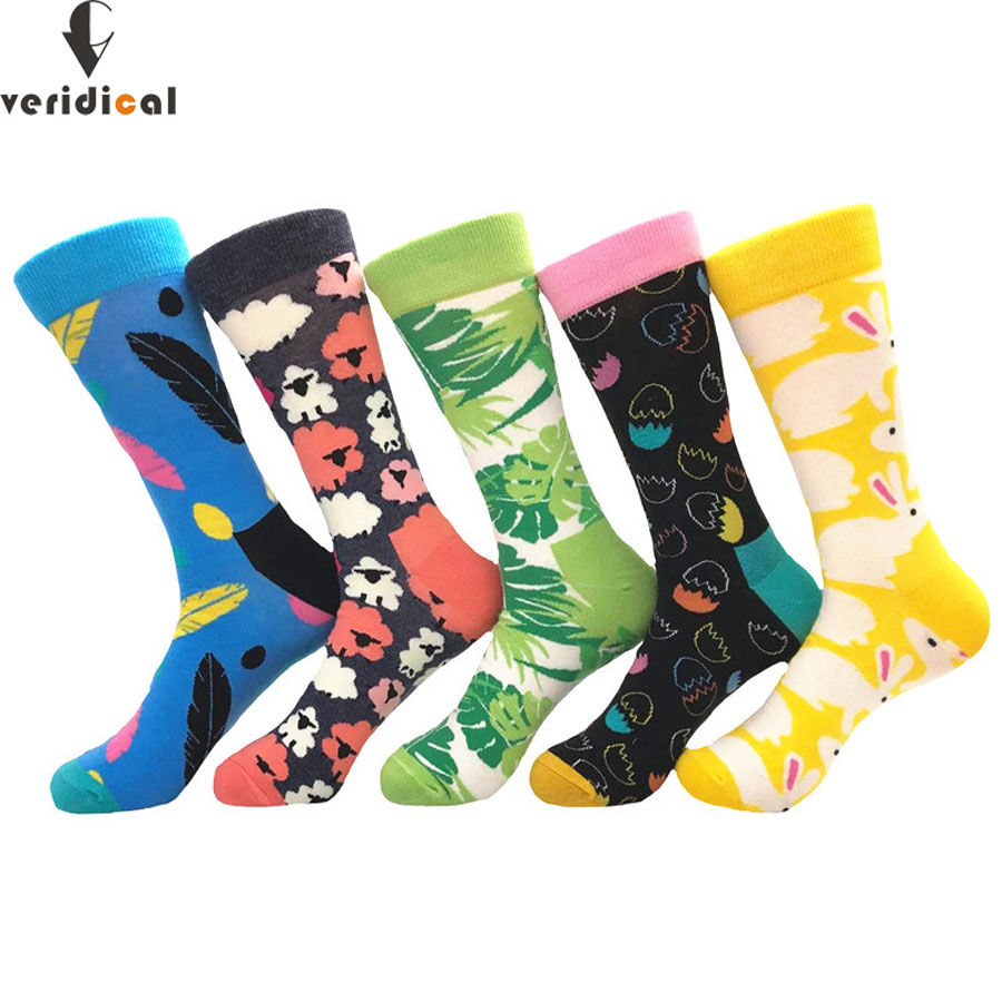 VERIDICAL Mens socks Funny Colorful Combed Cotton short Socks Moustache Casual Happy Socks Dress Wedding Socks 5 Pairs/lot