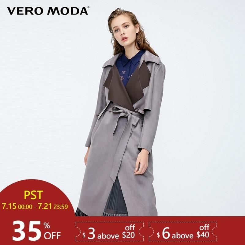 Vero Moda 2019 New Women's Two-piece Detachable Back Windshield Wind Coat Long   Trench   Coat | 318321525