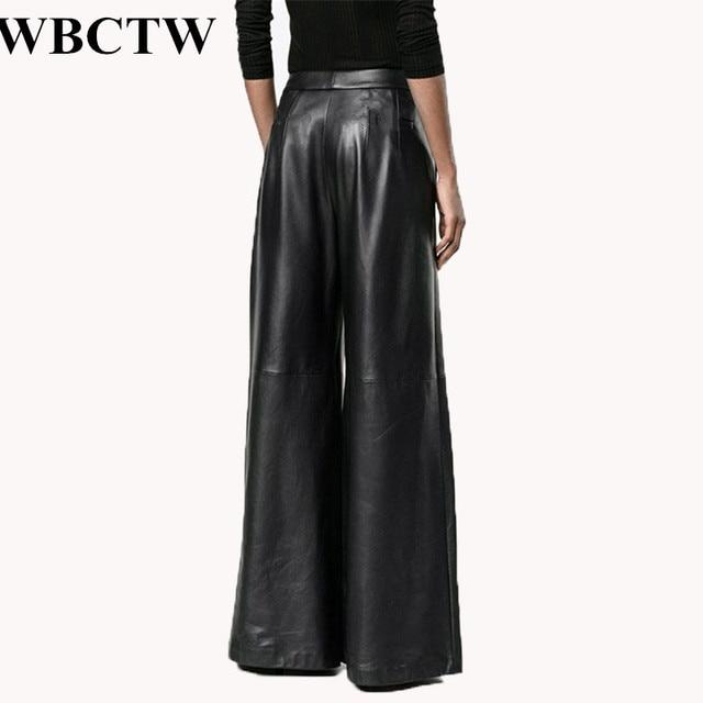 16d024712a4a8 2017 Spring Fashion Long Plus Size High Waist Pants Women Solid Black Loose  Trouse Runway PU Artificial Leather Wide Leg Pants