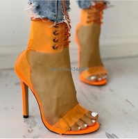 Transparent PVC Ankle Strap Thin High Heel Sandals Orange Cross Tied Stiletto Heels Jelly Shoes Sexy Summer Party Women Shoes