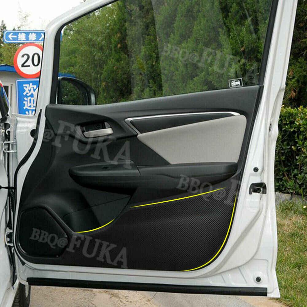 Барбекю @ Fuka карбоновое волокно стиль двери автомобиля антиударная площадка пленка наклейка для Honda Fit Jazz 2014-2018 автомобиль-Стайлинг украшение интерьера