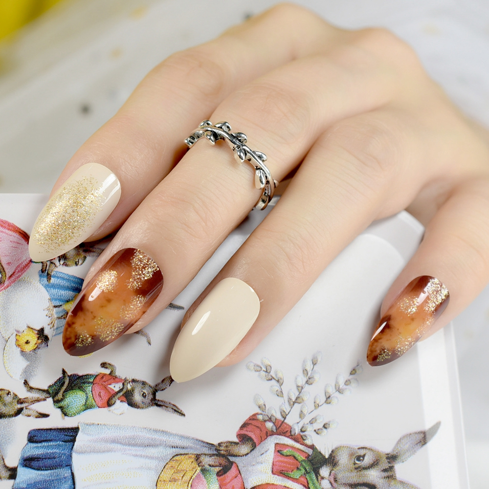 Brown Pattern Pointed Fake Nails Off white Artificial False Finger ...
