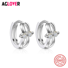 Bow knot Shaped 100% Real 925 Sterling Silver Hoop Earrings AAA Crystal Zircon Fashion Jewelry For Women Girl Gift