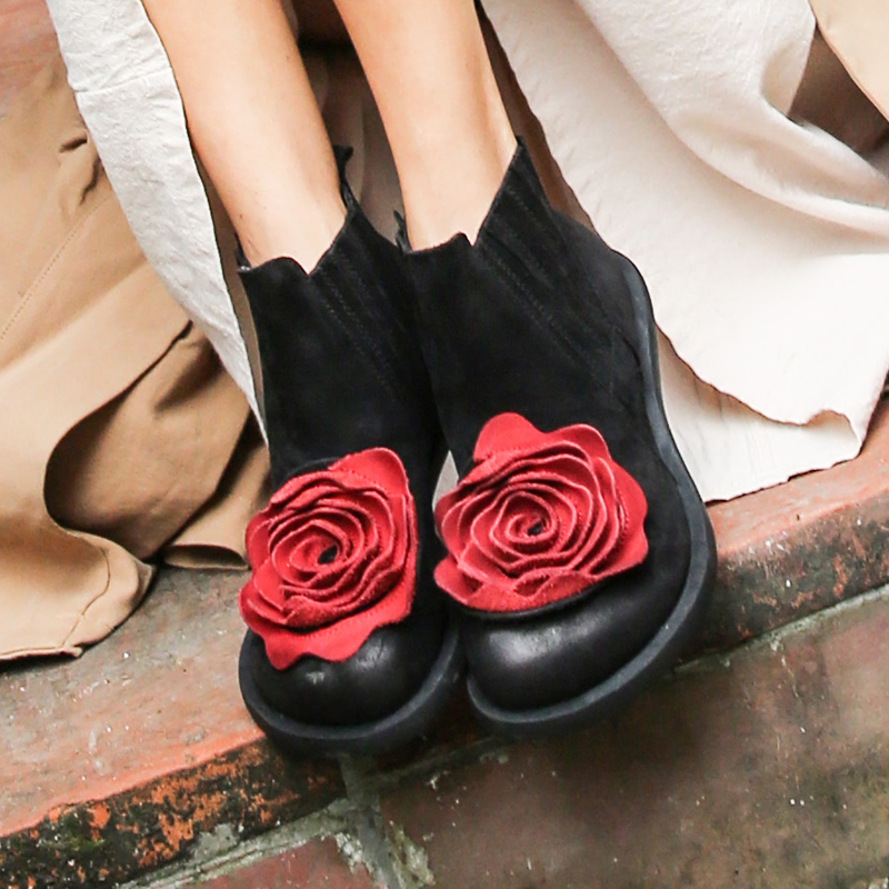 2019 Big Red Flower Women Boots Cow Suede Round Toes Ankle Boots Flat Heels Handmade Shoes Vintage Boots