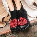 2019 gran flor roja Flor de las mujeres botas de gamuza de vaca ronda los dedos de los pies botas tacones planos zapatos hechos a mano de botas Vintage