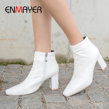 ENMAYER Cheap Square Toe PU Winter Boots Women Zip Ankle Heel Spring/Autumn Solid Shoes Fashion 2019