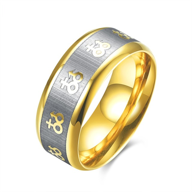 Fashion New Arrival Gold Color Ancient Patterns Korea Style Trendy Man Ring Wedding Bands Jewelry