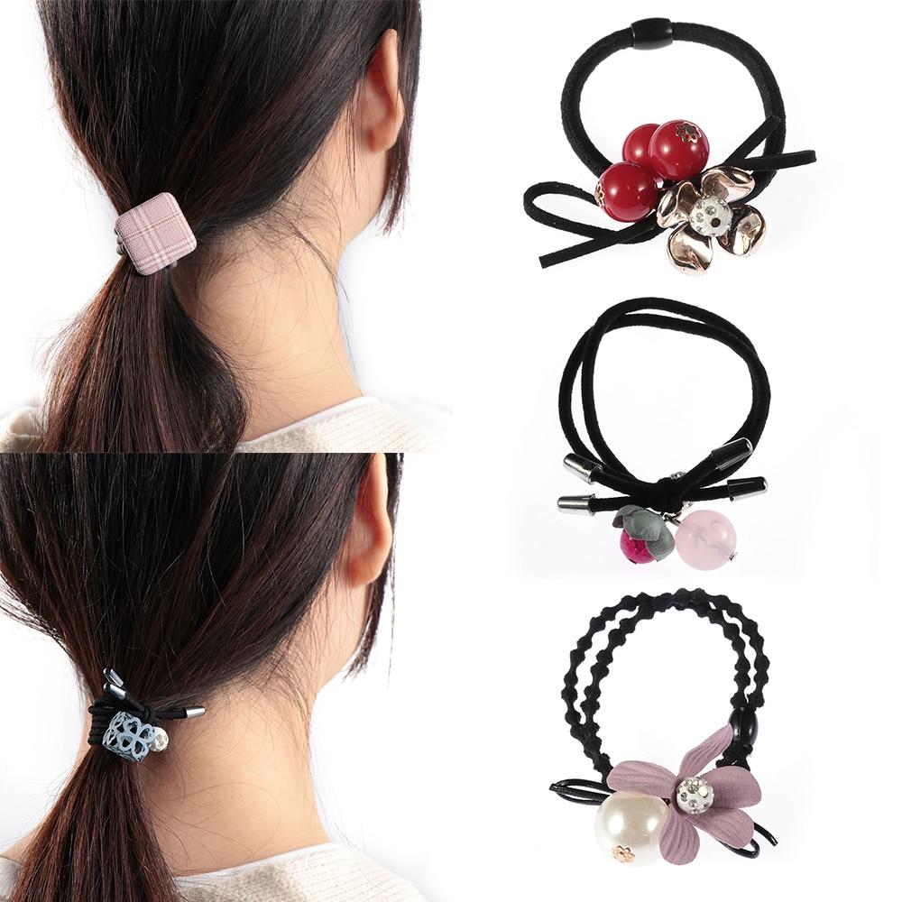 9Pcs/Set Girls Bowknot Rubber Band Hair Ropes Elastic Ponytail Holder Headbands Women Elegant ...