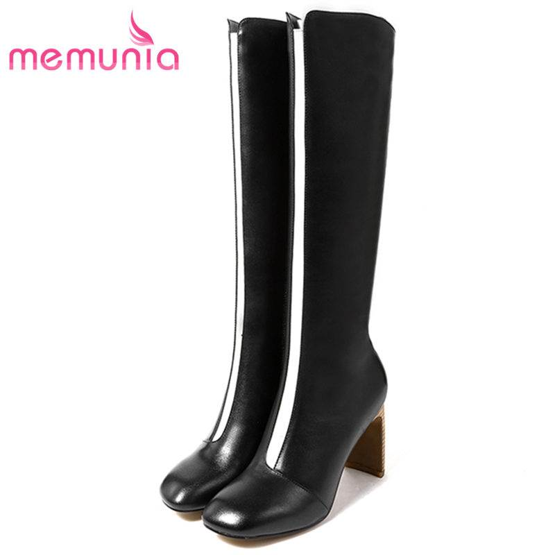 MEMUNIA 2018 NEW fashion zipper cow suede leather boots square low heels  knee high boots for women round toe winter boots c82e60b4bcc26