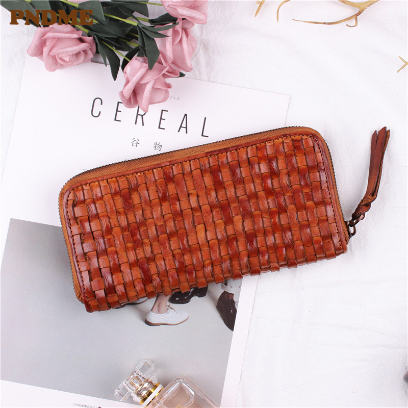 PNDME luxury handmade weaving retro soft genuine leather cowhide ladies mens long zipper wallet clutch credit cards purse