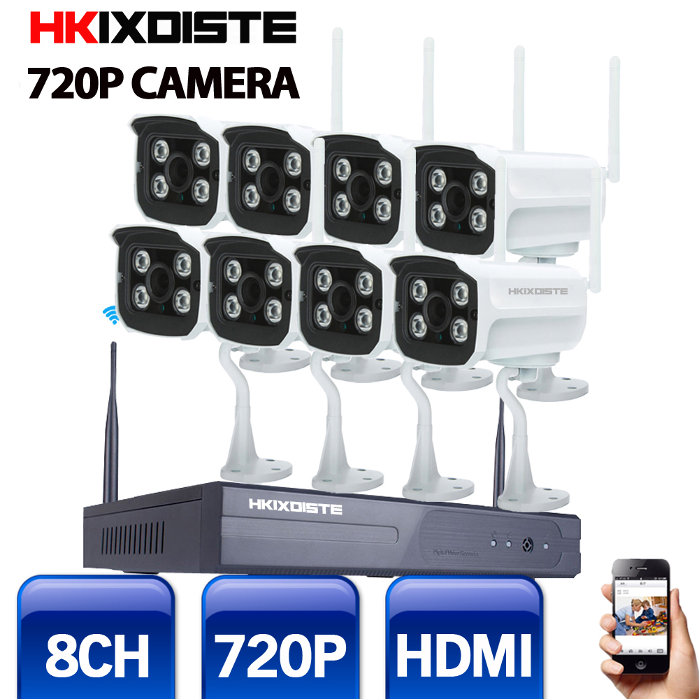 Wifi IP Camera System Kit 8CH NVR Wireless Camera Standalone System 8CH NVR 8 Wireless/Wired IP Camera 720P Security Camera Kit deecam 8ch nvr kit 720p outdoor ip camera system p2p cloud 8ch 720p nvr system easy access supports pc