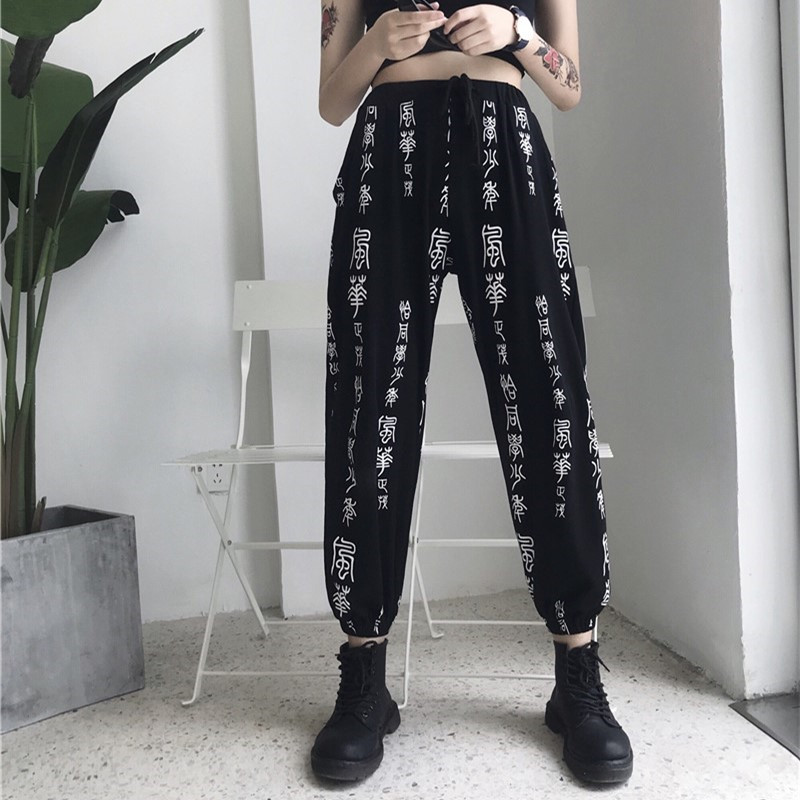 OCEANLOVE Print Chinese Character Sweatpants Drawstring Loose Streetwear Ankle-length Pants 2019 Spring High Waist Trouser 11294 9