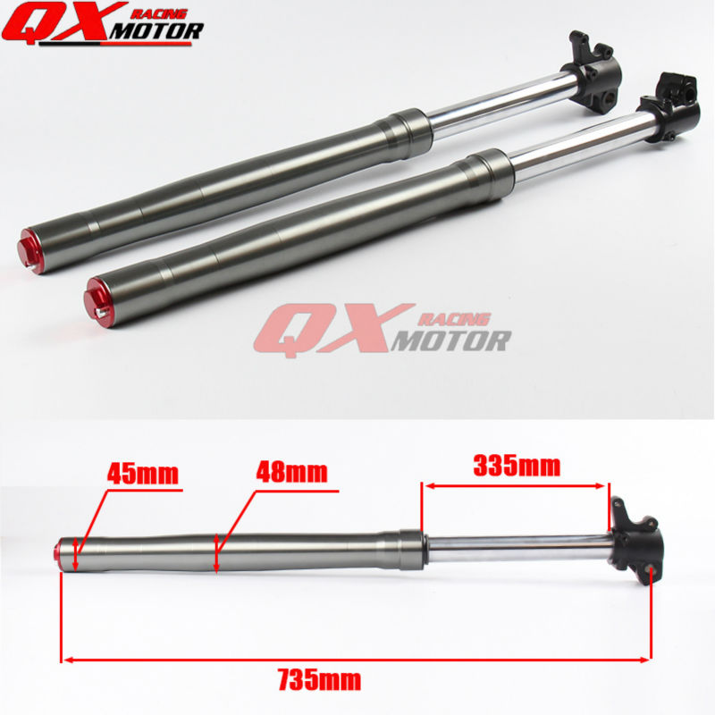 45X48X735mm High Quality Dirt Pit Bike Front Fork shock absorber For BSE Kayo Chinese CRF TTR KLX 110 125 140 150 160cc 110 125cc dirt pit bike seat saddles bse 140 kayo off road motorcycle motocross for kawasaki klx bbr