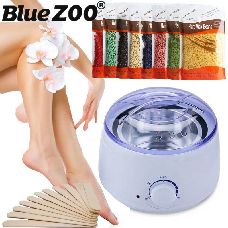 Painless Hair Removal Waxing Kit Warmer Wax Heater+Women Wax Pearls Beans Hard Wax 300g+10 Wooden Stick No depilatory Strips pro 300g pack paper depilatory wax hair removal solid hard wax beans honey flavor for men women body hair epilation