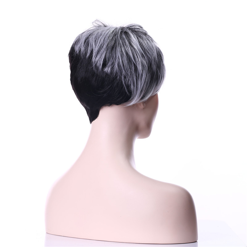 HAIRJOY ​​2 Tones Grey Wig Natural Short Curly Syntetisk Hair - Syntetiskt hår - Foto 3