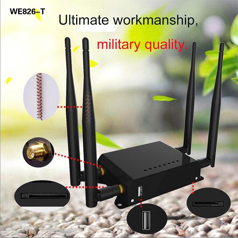 router wifi 4g 3g modem sim card punto de acceso openwrt 128 MB para coche/Autobús 12 V 4G LTE GSM USB Router inalámbrico wifi largo alcance WE826-T2 - 3