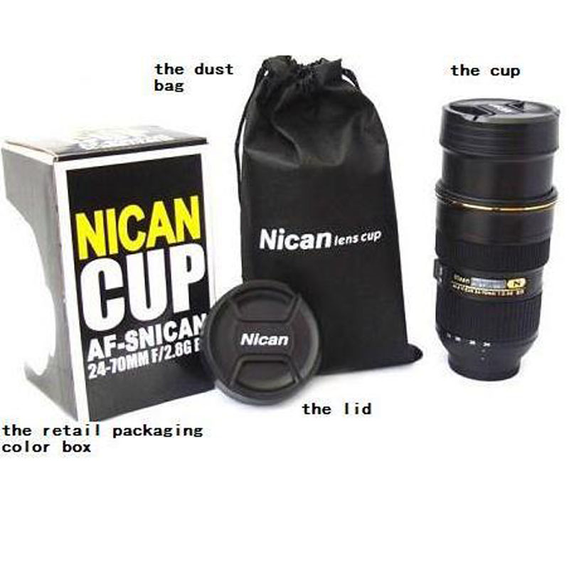 New Zoomable Camera Lens Mug Cups Telescopic Coffee Cup with Pouch NIKKOR 24-70mm Thermos Coffee Insulated Tumblers Travel Mugs