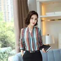 Long Sleeve Fashion Striped Women Blouses & Shirts Business Work Wear Female Blouse Ladies Office Tops OL Styles Shirt Clothes