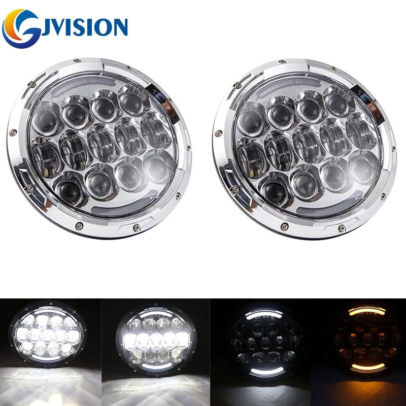 For Jeep Wrangler JK 7 incn LED headlight DRL H4 daymaker projector headlamp for Hummer H1 H2 Off Road 4x4 Land Rover Defender