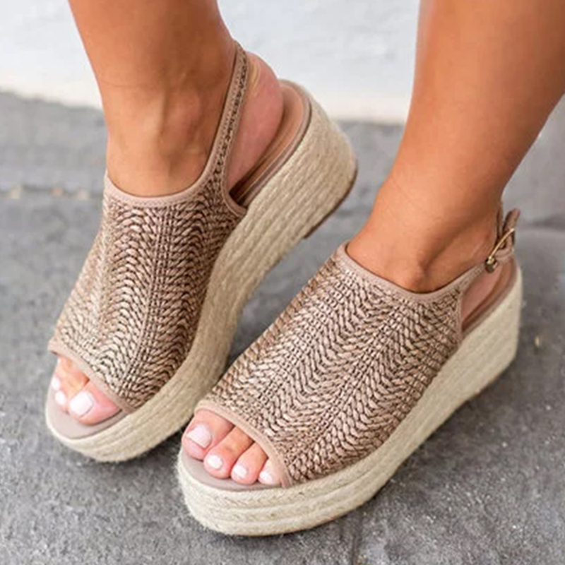 Ladies Sandals Womens Platform Peep Toe Woven Buckle Strap Flat Thick-Bottom Sandals Roman Shoes Sandalias Mujer 2019Ladies Sandals Womens Platform Peep Toe Woven Buckle Strap Flat Thick-Bottom Sandals Roman Shoes Sandalias Mujer 2019