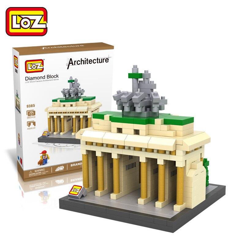 World Famous Architecture Brandenburg Gate LOZ Diamond Building Blocks Children Learning Education 3D DIY Assemble Model Toys