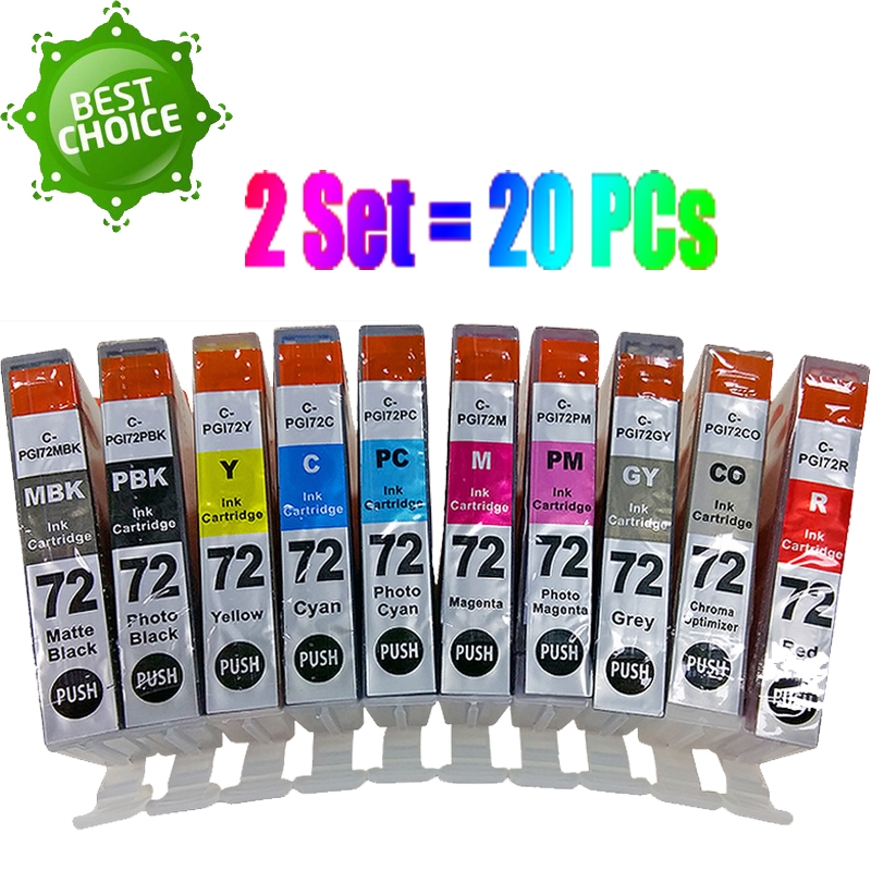 10-PACK Ink Cartridge Set PGI-72 All Colors for Canon PIXMA PRO-10 Printer