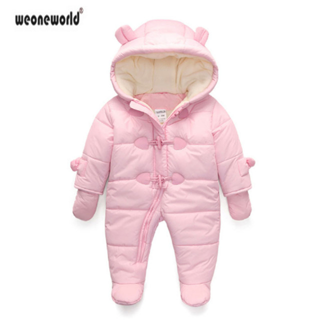 4d9244451180 WEONEWORLD Winter Thick warm Hooded clothes Infant baby rompers ...