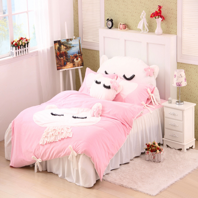 2015 New winter Coral velvet kids Bedding set 4pcs cartoon Rabbits Baby children bedclothes bed linen duvet cover pillowcase