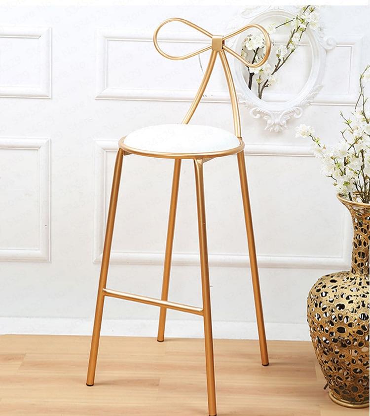 Качественное металлическое кресло, модный скандинавский барный стул для отдыха, современные обеденные вечерние стулья с бантом, форма спинки и высокая поролоновая губка