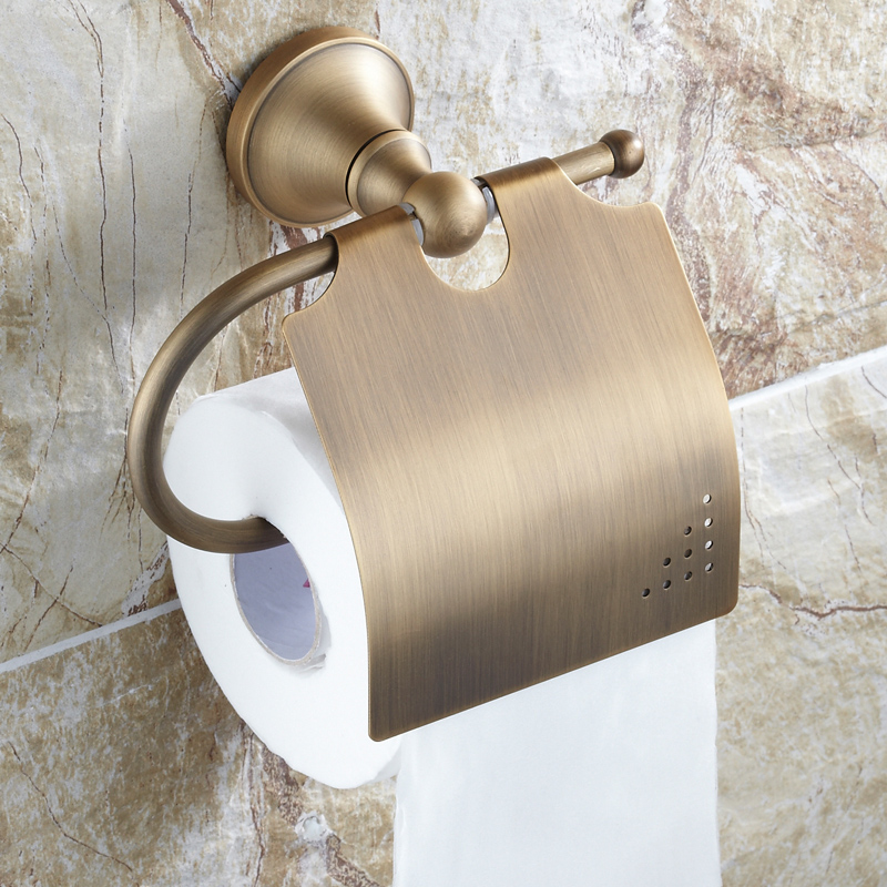 Antique Brushed Toilet Paper Holder Luxury Solid Brass Roll Holder Toilet Tissue Box Bathroom Accessories black of toilet paper all copper toilet tissue box antique toilet paper basket american top hand cartons
