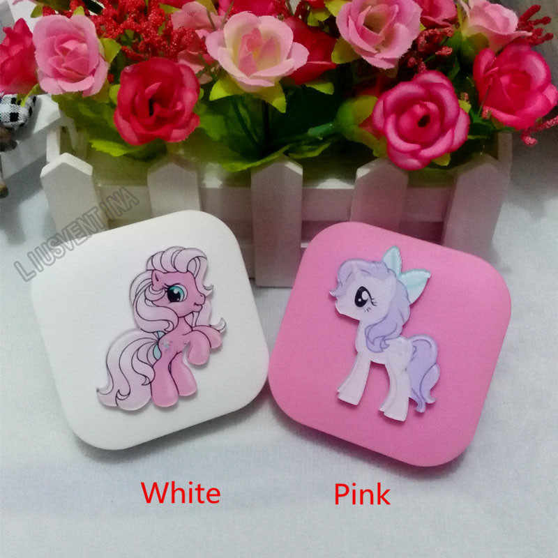 LIUSVENTINA DIY الاكريليك لطيف الكرتون الوردي الحصان حالة العدسات اللاصقة مع مرآة مربع الحاويات ل الاتصال عدسة هدية للحبيب