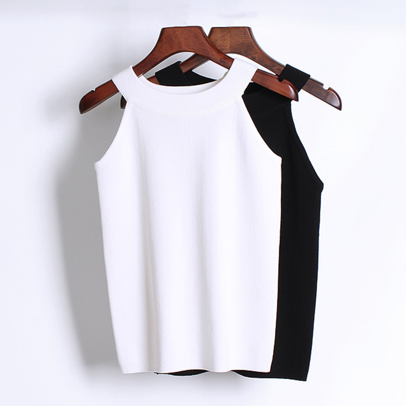 Summer Women stretch Knitting Halter Camisole Tops Female Bodycon Knitted Tanks party crop top Sleeveless Basic Solid T shirts