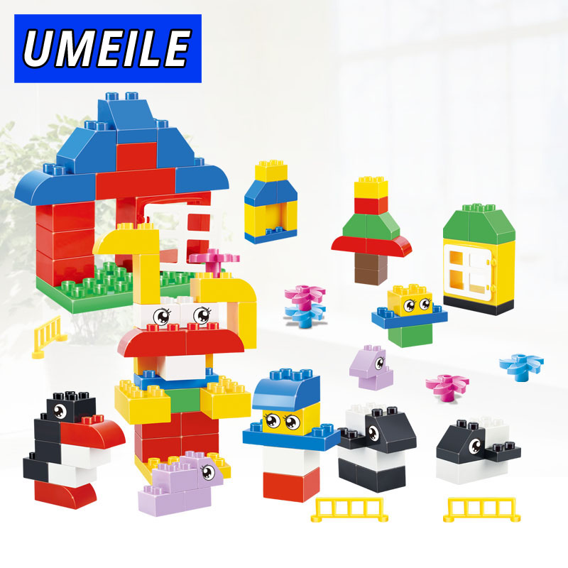 UMEILE Brand 66PCS Amzing Diy Animal Basics Set Educational 3-6 Years Baby Toys Zoo Compatible with Duplo Christmas Gift cheerlink zm 81 3mm neodymium iron diy educational toys set silver 81 pcs