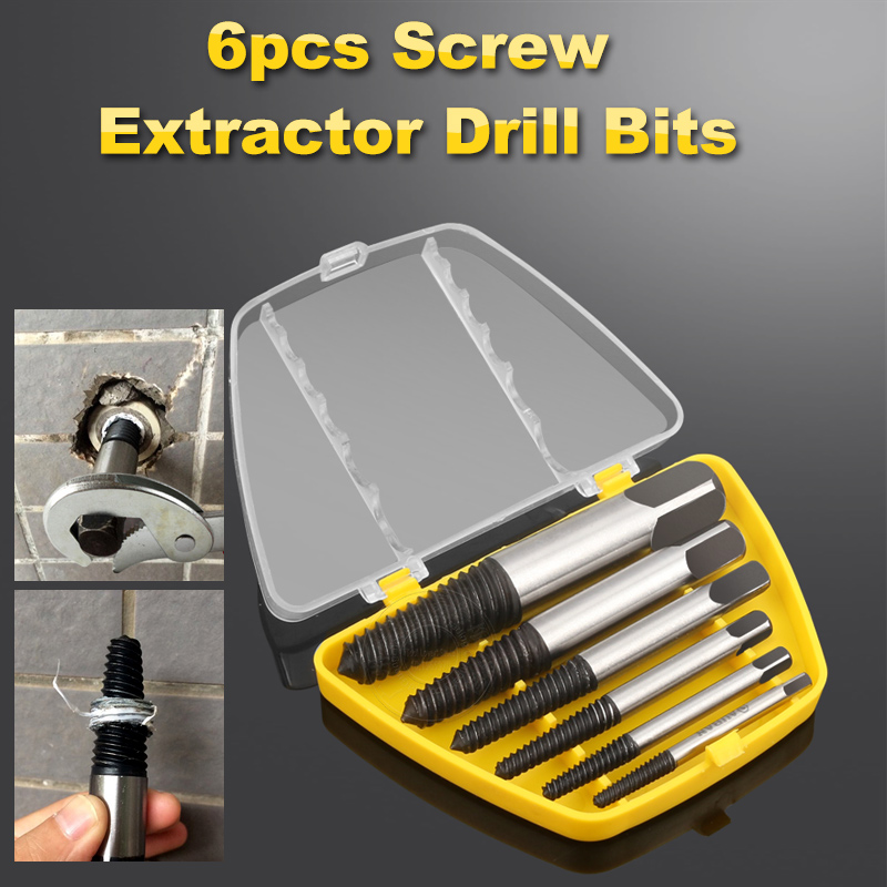6 PCS Broken Damaged Screwdriver Extractor Set Drill Bit Alloy Steel Double Side Screw Pull Center Drill Bits Removal Tools Set jelbo drill bits for wood screw extractor 5pcs drill bit set tools drill bit removal screw extractor for metal woodworking