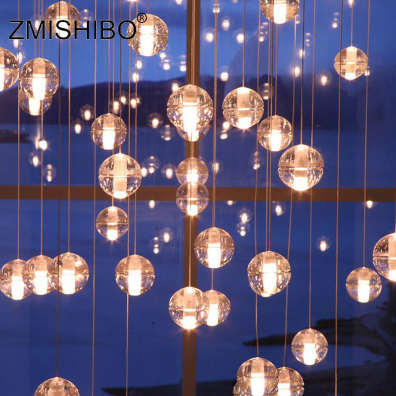 ZMISHIBO LED Crystal Glass Pendant Lamp With Bubble Round 3W 220V G4 80MM For Dining Room Shop Window Hall Decoration Art LightsZMISHIBO LED Crystal Glass Pendant Lamp With Bubble Round 3W 220V G4 80MM For Dining Room Shop Window Hall Decoration Art Lights