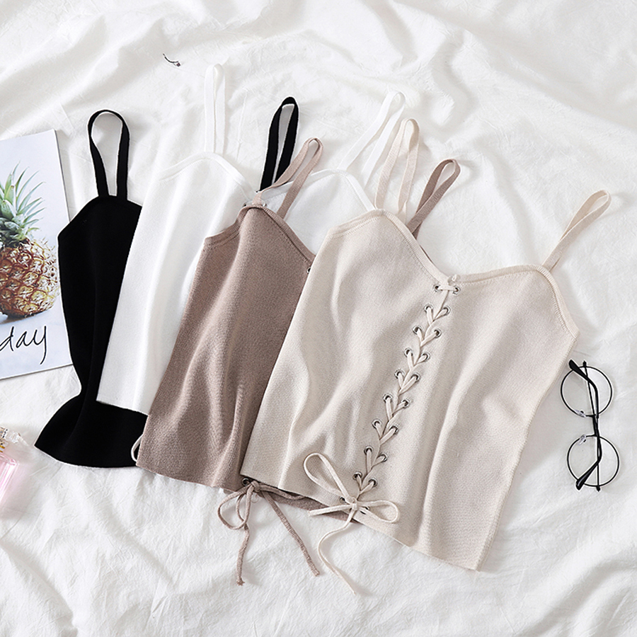 Tank-Tops Spaghetti-Strap Camis Bandage Knitted Skinny Sexy Casual Women Solid Short