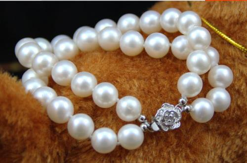 double strands south sea round 8-9mm natural white pearl bracelet 7.5-8 925S sea horse 1 5 1 8
