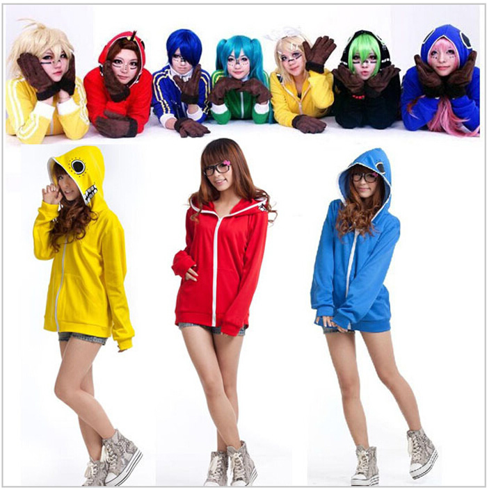 Bright Vocaloid Hoodies Cosplay Costume Russian Matryoshka Megurine Kagamin Hatsune Miku Gumi Hoodie Candy Color Jacket Sportswear Cool In Summer And Warm In Winter