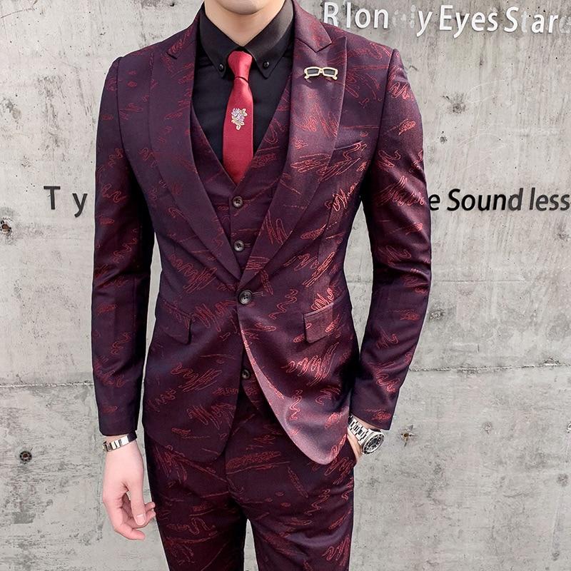 TIAN QIONG Burgundy Men Suit Printed Floral Patterns Designer Suit Stage Wear Slim Fit Prom Suit