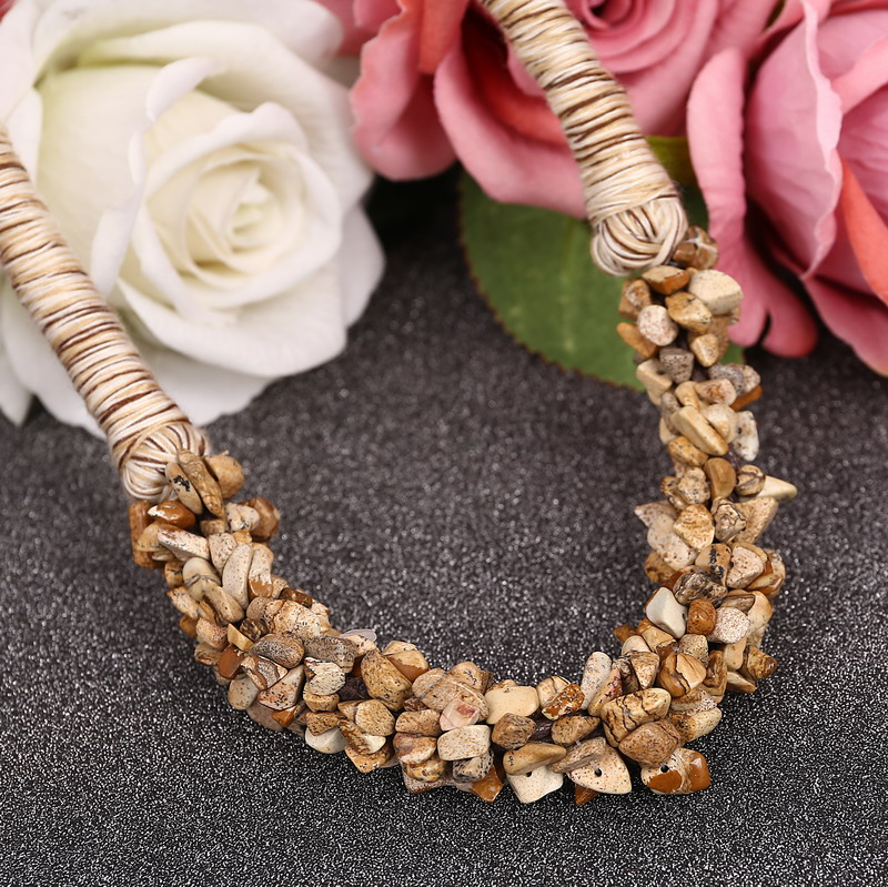 Natural Rose Quartz Chip Stone Collar / Choker Necklace hhdqp