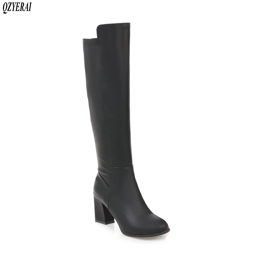 QZYERAI New fashion womens boots to knee boots stretch tight womens shoes black size 34-43