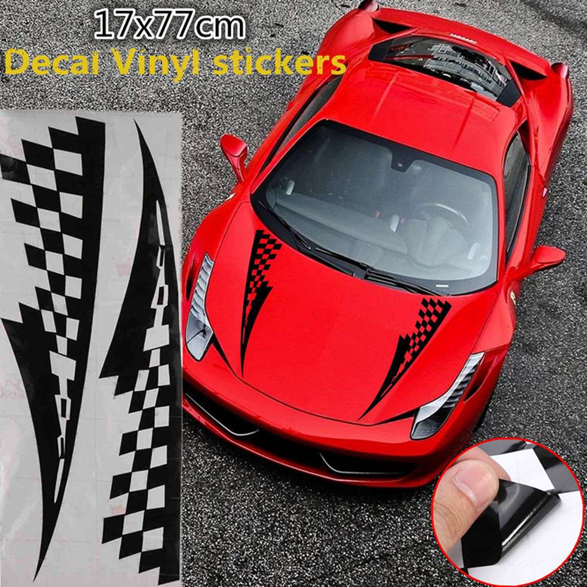 17x77cm black car decal vinyl graphics stickers hood decals checkered flags stripe cg169 china