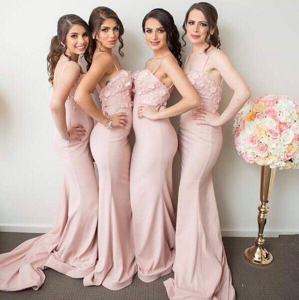 Backless 2019 Cheap   Bridesmaid     Dresses   Under 50 Mermaid Spaghetti Straps Flowers Long Wedding Party   Dresses   For Women
