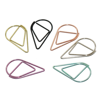 60 pièces 6 couleurs en métal matériel goutte forme trombones drôle Kawaii signet bureau Shool papeterie marquage Clips
