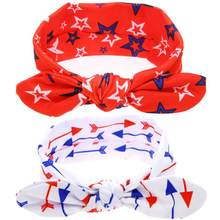Star pattern all baby love Cute Rabbit Ears Elastic Cloth Bowknot Headband hair dress fitas de cetim para artesanato #(China)