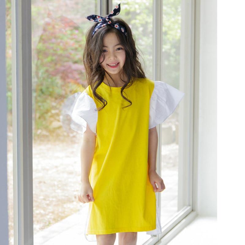 Brand Baby 2019 New Summer Girls Cotton T-shirt Dress Girls Dress Flare Sleeve Children Patchwork Dress Toddler Clothes,#2679
